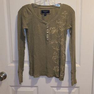 American Eagle Thermal Henley Long Sleeve Shirt